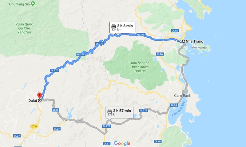 Nha Trang to Da Lat Map