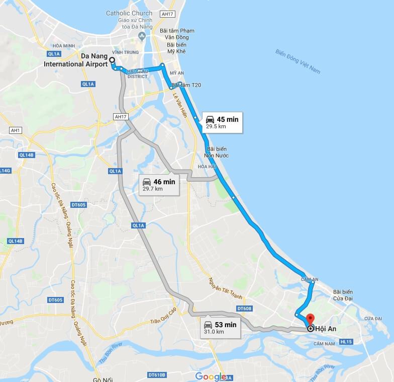 Transfer from Da Nang International airport to Hoi An Map