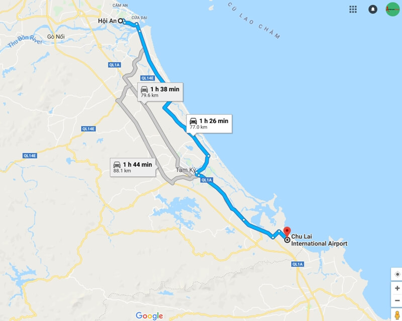 Chu Lai airport to Hoi An map