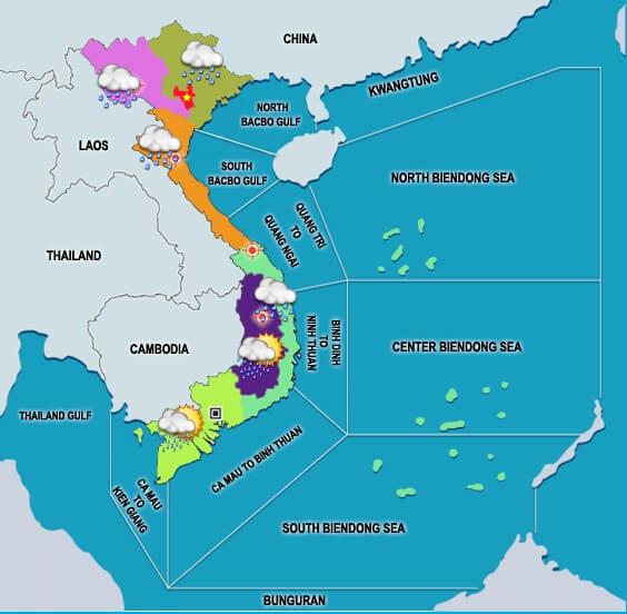 Vietnam weather forecast map