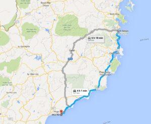 map from Nha Trang to Mui Ne