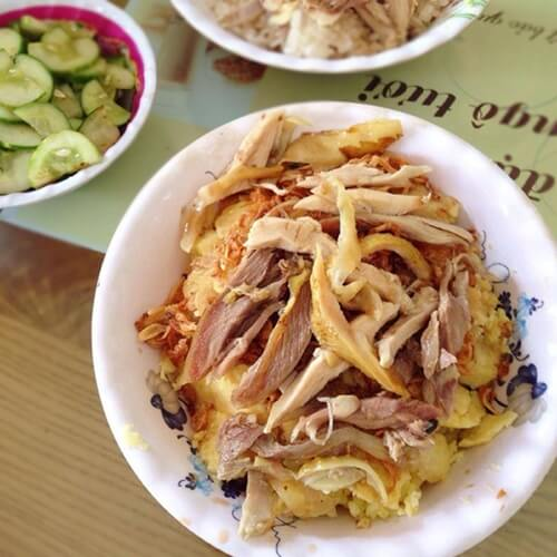 Sticky rice with chicken in Hanoi