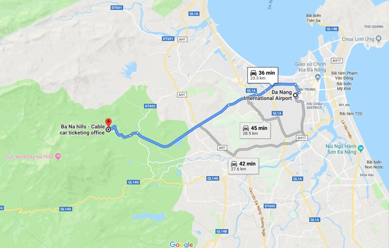 Map from Da Nang International Airport to Ba na Hills