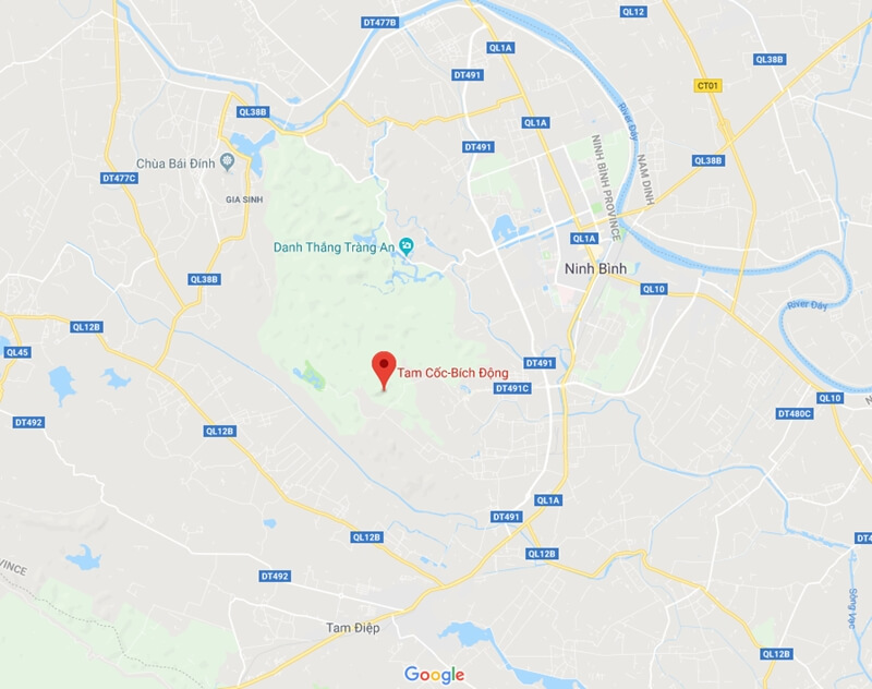 Location map of Tam Coc Bich Dong in Ninh Binh