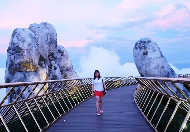 Walking on Golden Bridge in Ba Na Hills