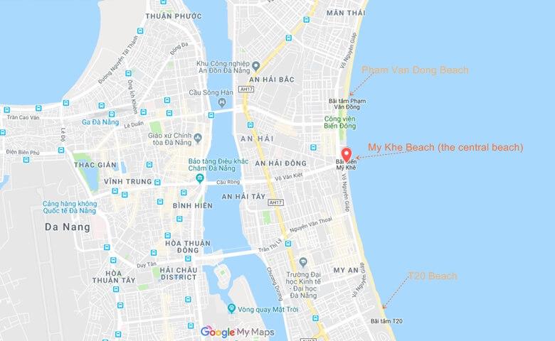 My Khe Beach Vietnam Map