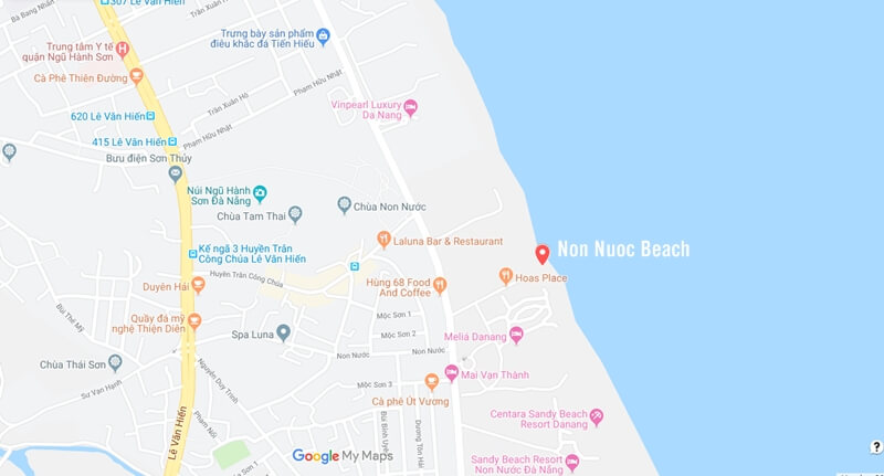 Non Nuoc Beach Map