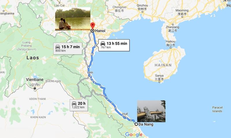Da Nang to Hanoi Vietnam