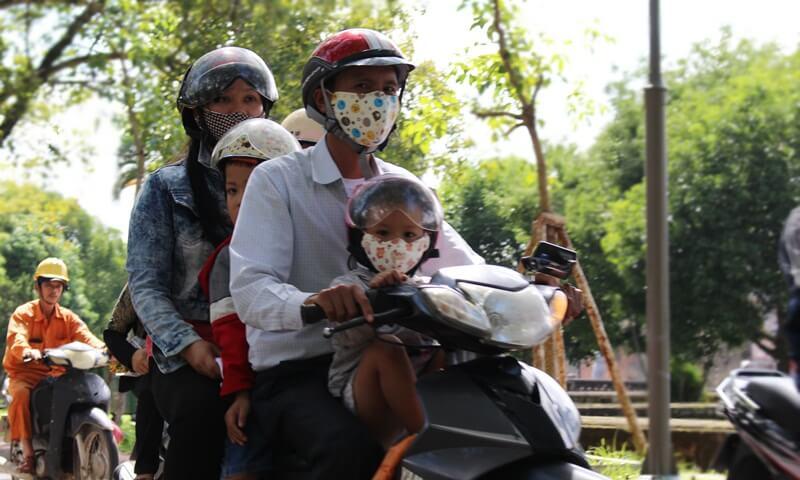 Riding a motorbike in Vietnam