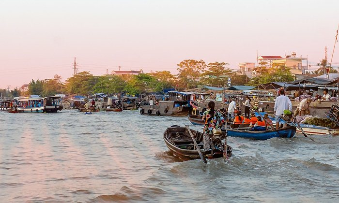 cai rang floating market in Can Tho Vietnam