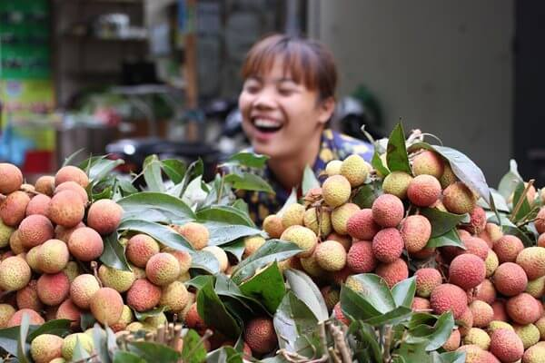 A happy seller in the local market